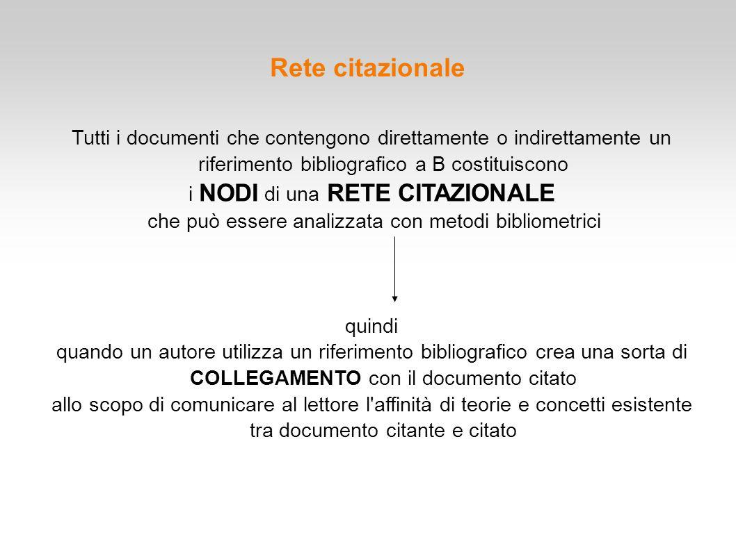 Rete citazionale Tutti i documenti che contengono direttamente o indirettamente un riferimento bibliografico a B costituiscono.