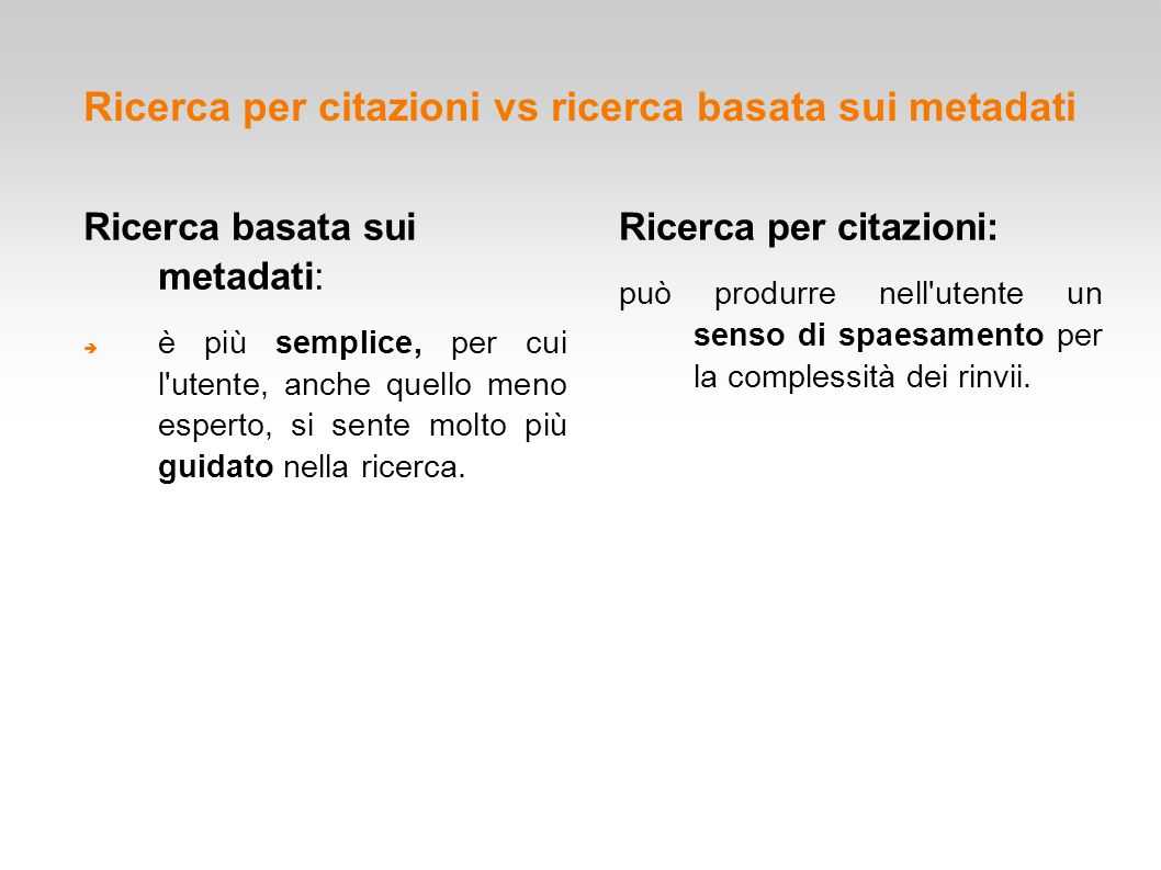 Ricerca per citazioni vs ricerca basata sui metadati
