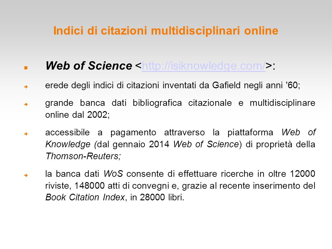 Indici di citazioni multidisciplinari online
