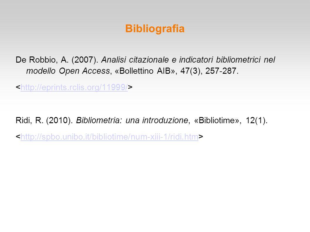 Bibliografia De Robbio, A. (2007). Analisi citazionale e indicatori bibliometrici nel modello Open Access, «Bollettino AIB», 47(3), 257-287.