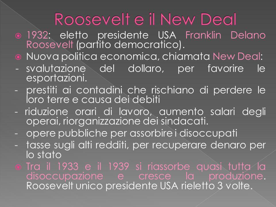 Roosevelt e il New Deal 1932: eletto presidente USA Franklin Delano Roosevelt (partito democratico).