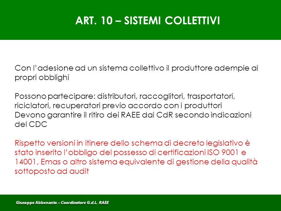 ART. 10 – SISTEMI COLLETTIVI