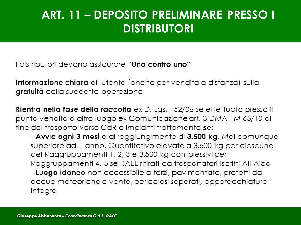 ART. 11 – DEPOSITO PRELIMINARE PRESSO I DISTRIBUTORI