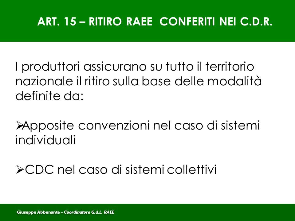 ART. 15 – RITIRO RAEE CONFERITI NEI C.D.R.