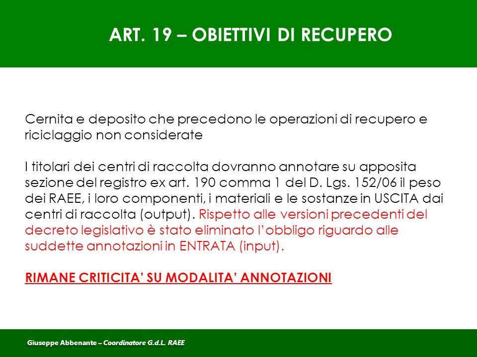 ART. 19 – OBIETTIVI DI RECUPERO