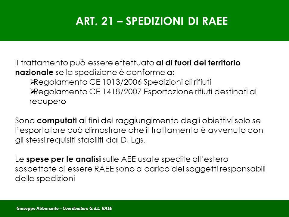 ART. 21 – SPEDIZIONI DI RAEE