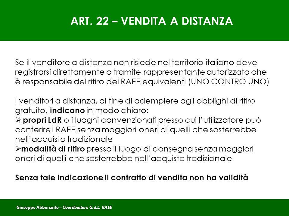 ART. 22 – VENDITA A DISTANZA