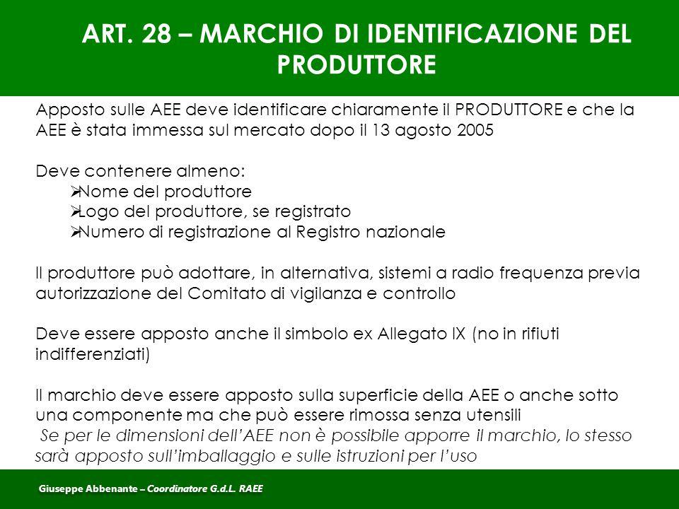 ART. 28 – MARCHIO DI IDENTIFICAZIONE DEL PRODUTTORE