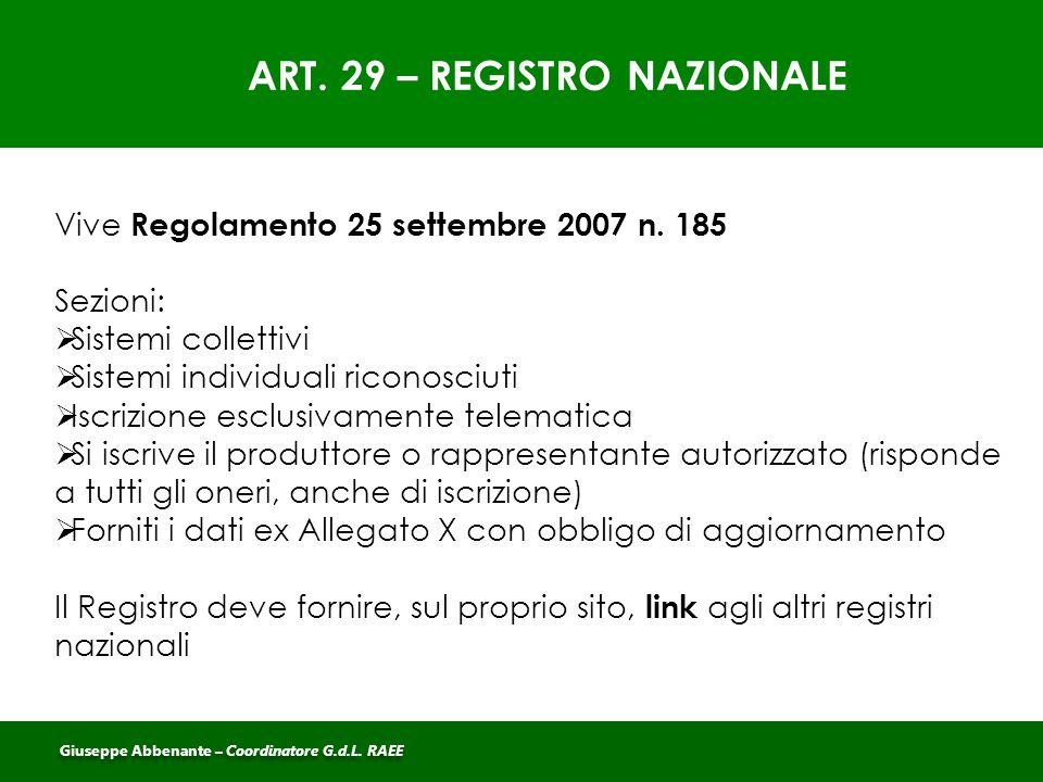 ART. 29 – REGISTRO NAZIONALE