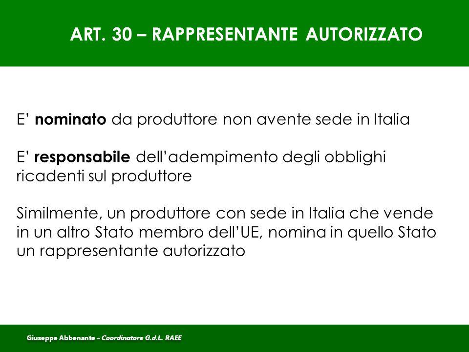 ART. 30 – RAPPRESENTANTE AUTORIZZATO