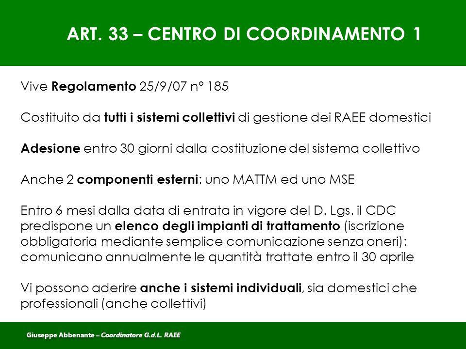 ART. 33 – CENTRO DI COORDINAMENTO 1