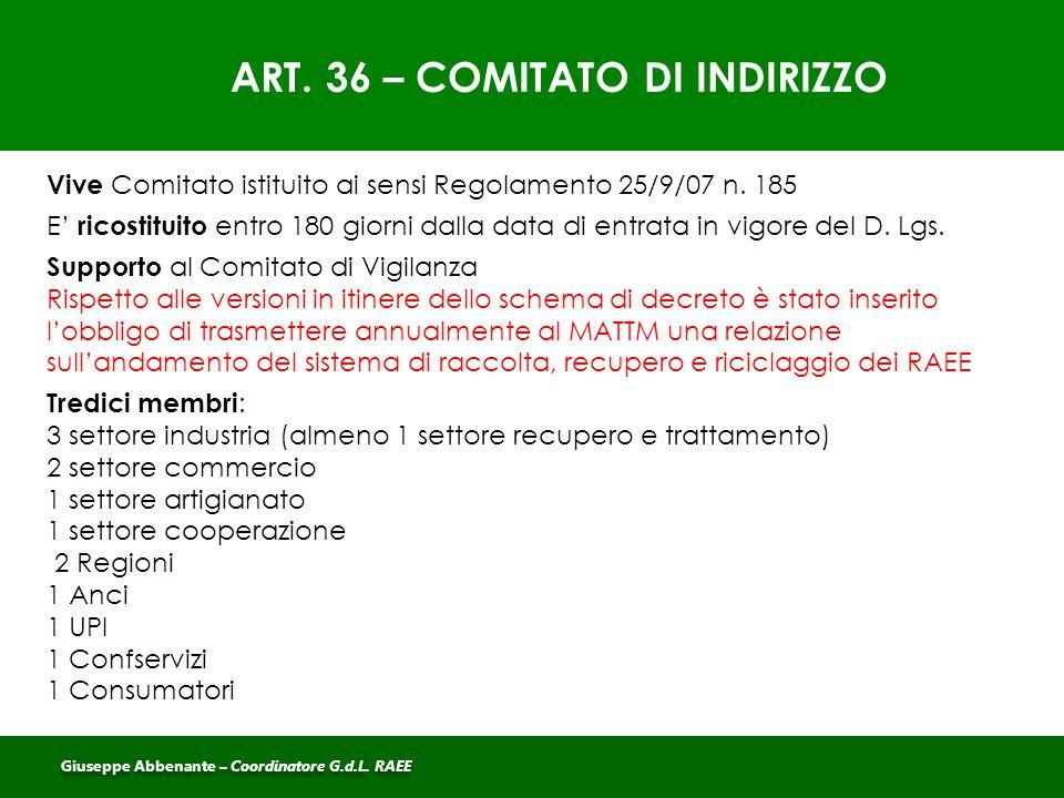 ART. 36 – COMITATO DI INDIRIZZO
