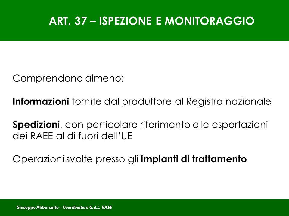 ART. 37 – ISPEZIONE E MONITORAGGIO
