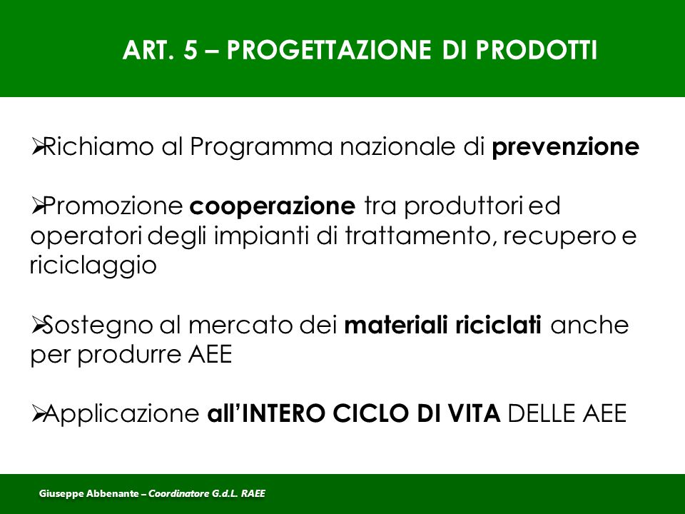 ART. 5 – PROGETTAZIONE DI PRODOTTI