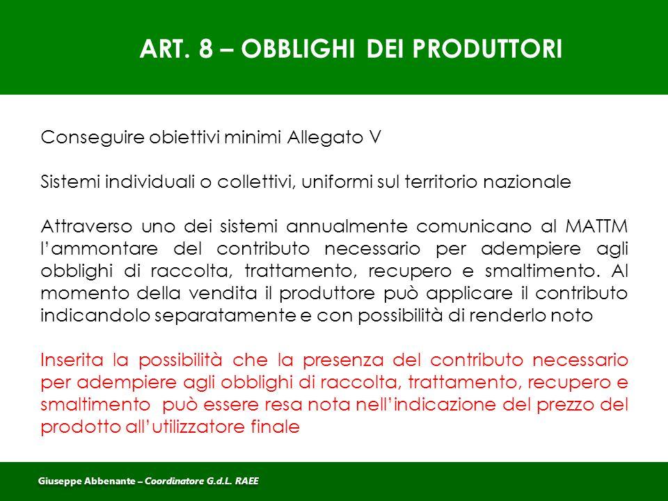 ART. 8 – OBBLIGHI DEI PRODUTTORI
