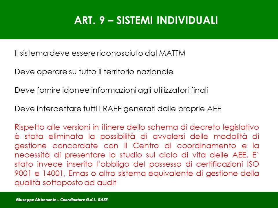 ART. 9 – SISTEMI INDIVIDUALI