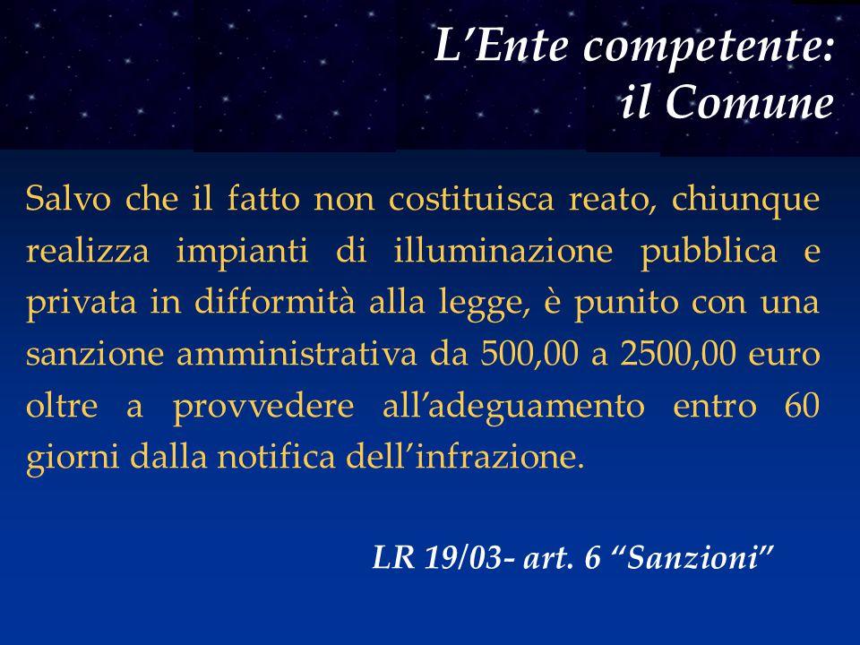 L'Ente competente: il Comune