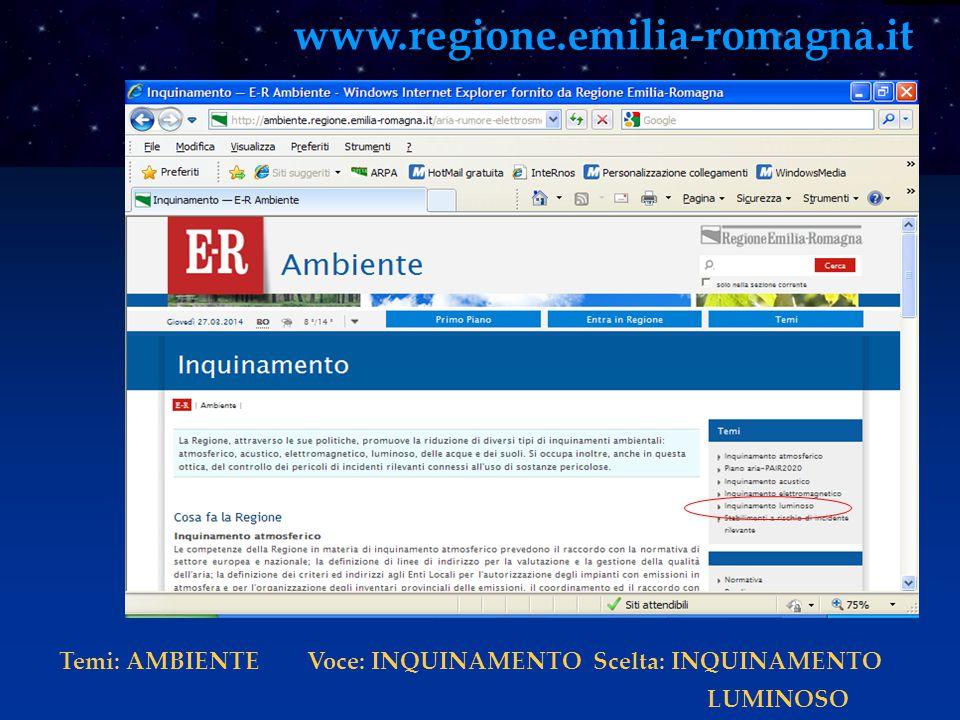 www.regione.emilia-romagna.it Temi: AMBIENTE Voce: INQUINAMENTO Scelta: INQUINAMENTO.