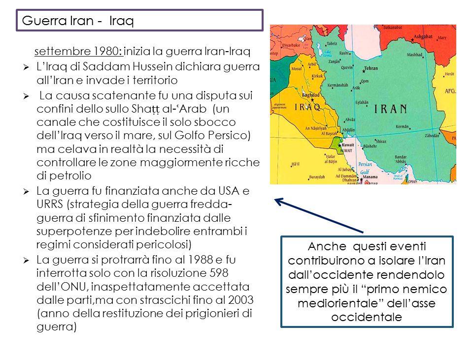 Guerra Iran - Iraq settembre 1980: inizia la guerra Iran-Iraq. L'Iraq di Saddam Hussein dichiara guerra all'Iran e invade i territorio.