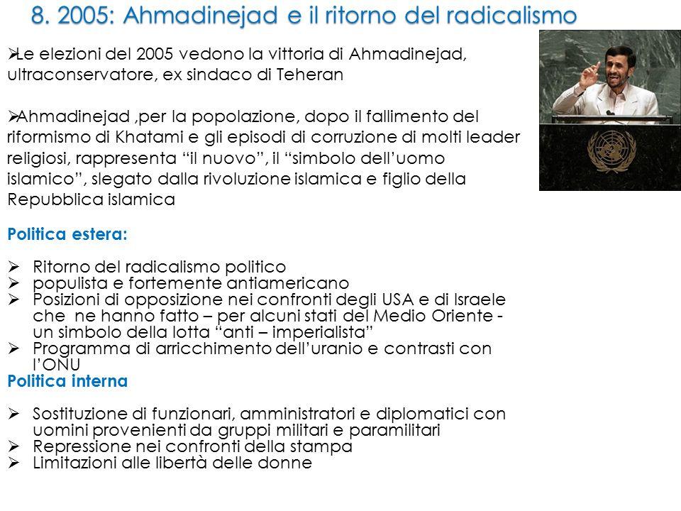 8. 2005: Ahmadinejad e il ritorno del radicalismo