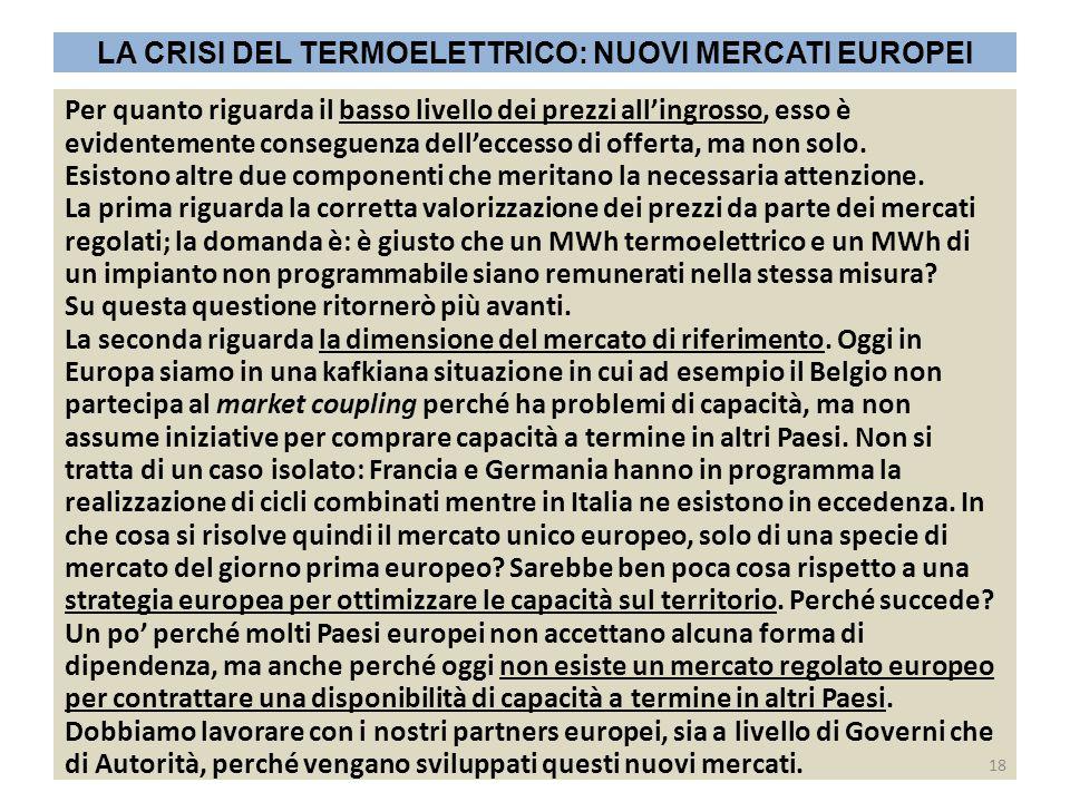 LA CRISI DEL TERMOELETTRICO: NUOVI MERCATI EUROPEI