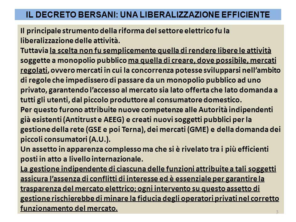 IL DECRETO BERSANI: UNA LIBERALIZZAZIONE EFFICIENTE