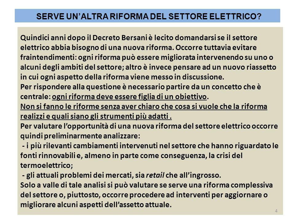 SERVE UN'ALTRA RIFORMA DEL SETTORE ELETTRICO