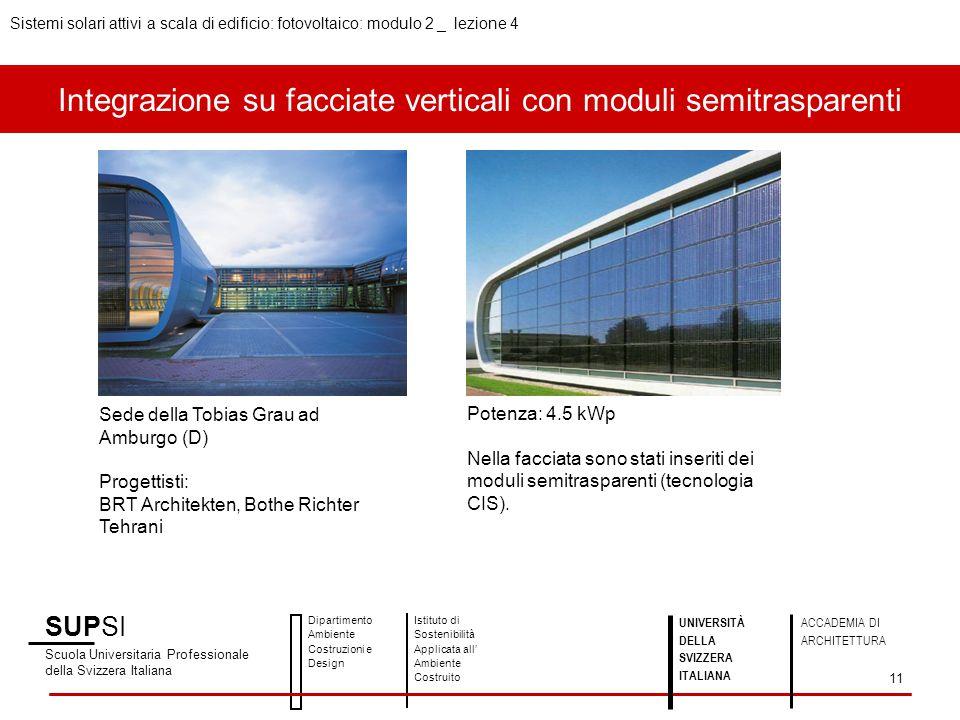 Integrazione su facciate verticali con moduli semitrasparenti