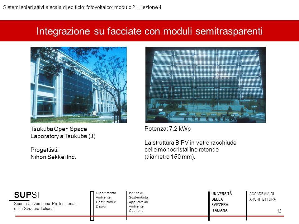 Integrazione su facciate con moduli semitrasparenti