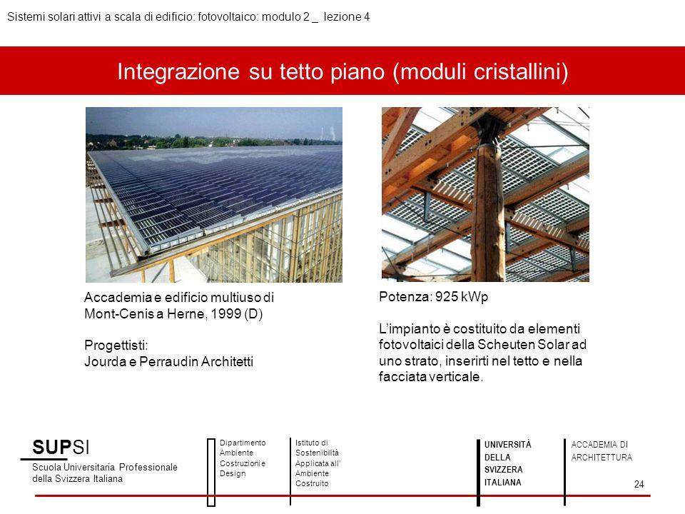 Integrazione su tetto piano (moduli cristallini)