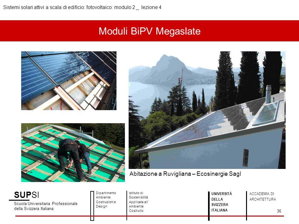 Moduli BiPV Megaslate SUPSI Abitazione a Ruvigliana – Ecosinergie Sagl