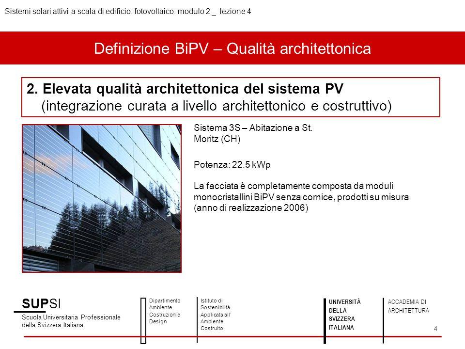 Definizione BiPV – Qualità architettonica