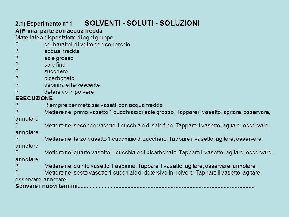 2.1) Esperimento n° 1 SOLVENTI - SOLUTI - SOLUZIONI