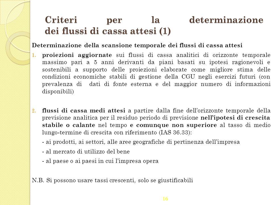 Criteri per la determinazione dei flussi di cassa attesi (1)