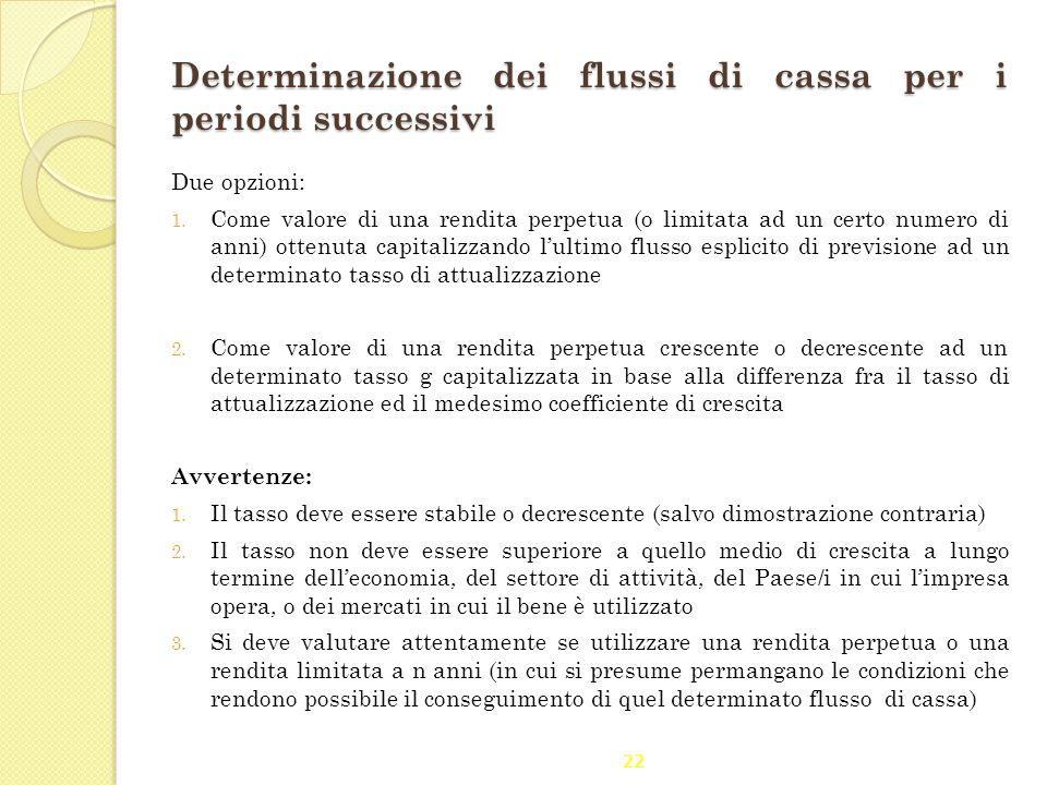 Determinazione dei flussi di cassa per i periodi successivi
