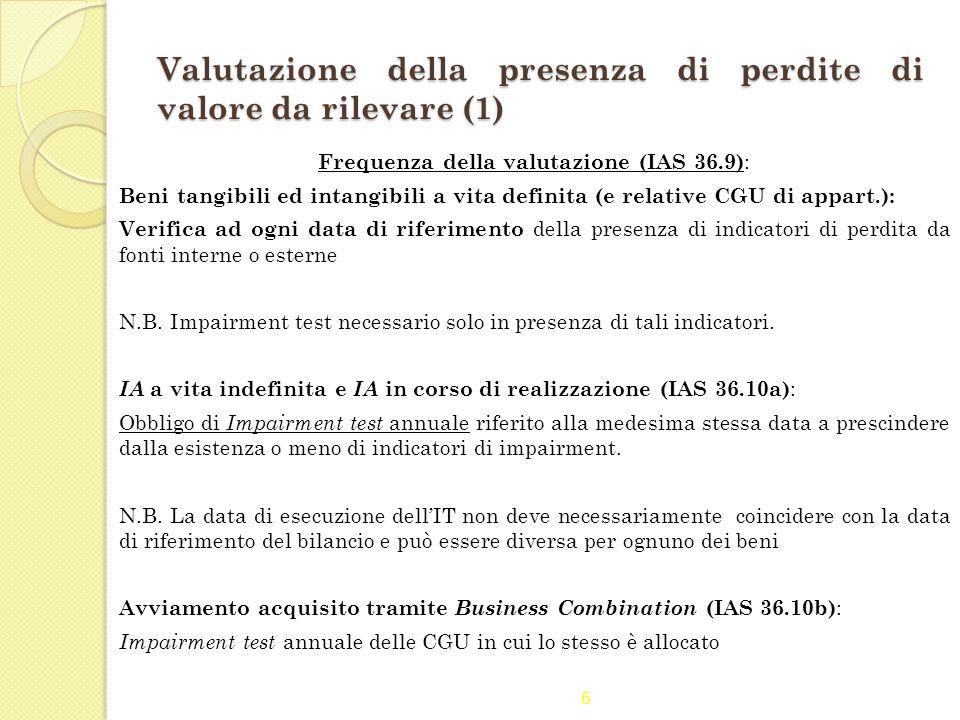 Valutazione della presenza di perdite di valore da rilevare (1)