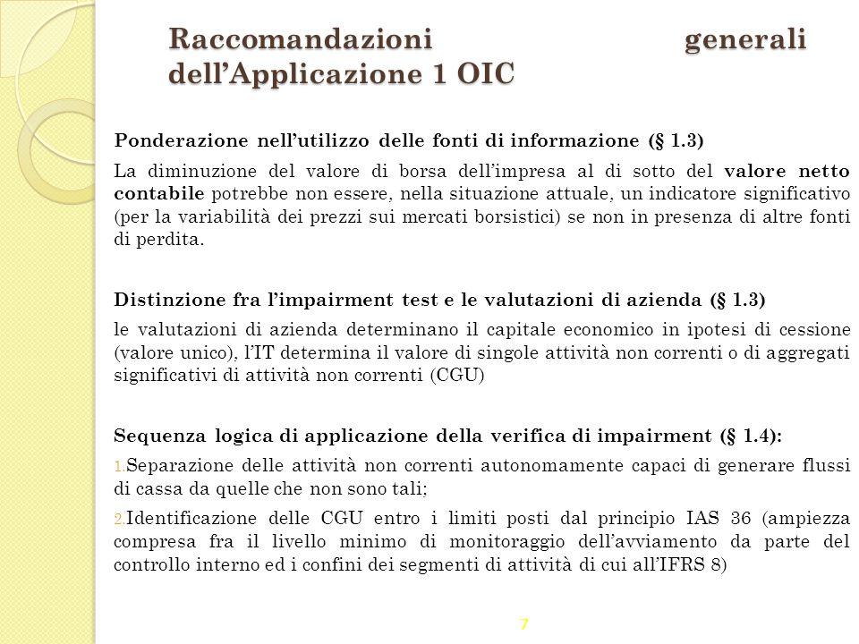 Raccomandazioni generali dell'Applicazione 1 OIC