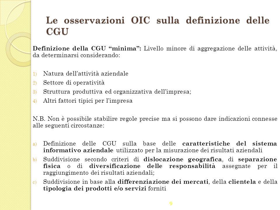 Le osservazioni OIC sulla definizione delle CGU