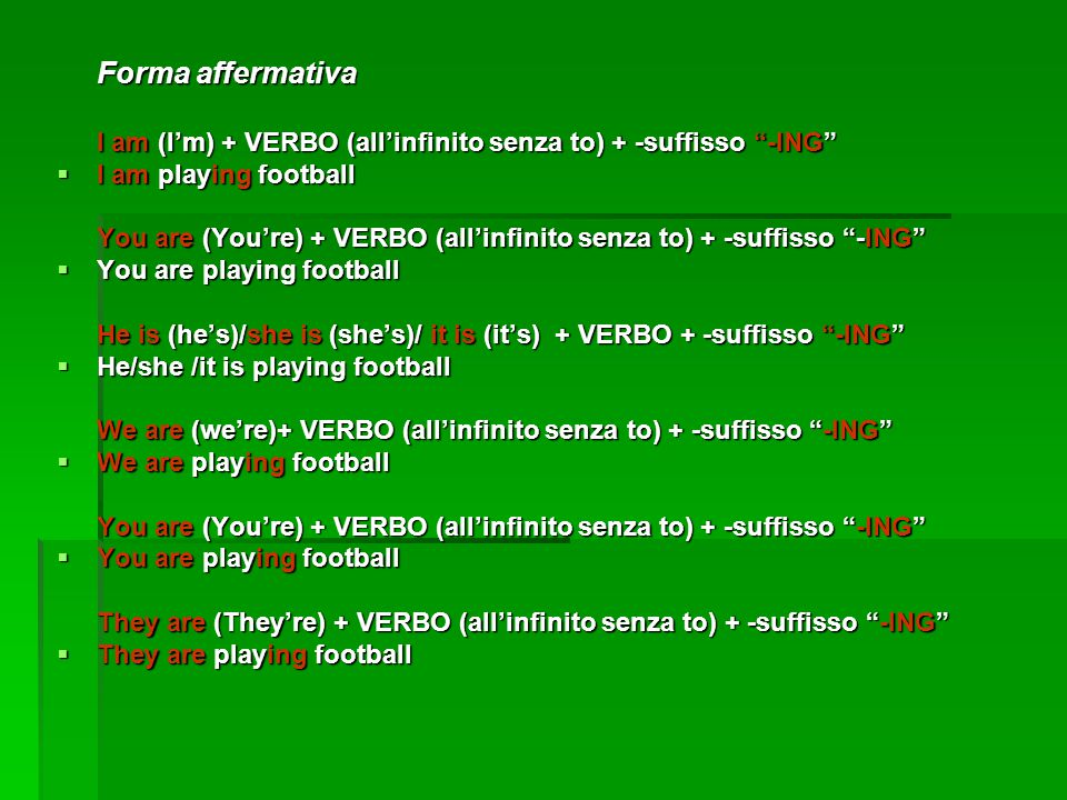 Forma affermativa I am playing football
