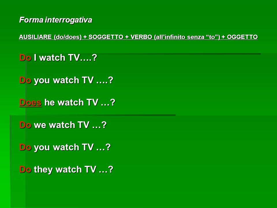 Do I watch TV…. Do you watch TV …. Does he watch TV …