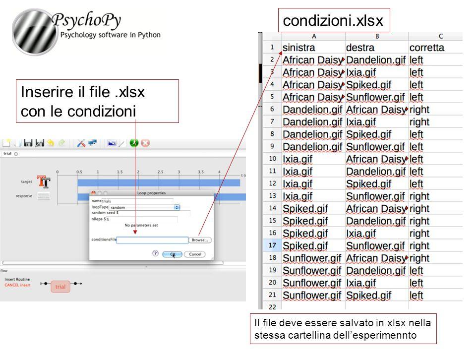 Inserire il file .xlsx con le condizioni