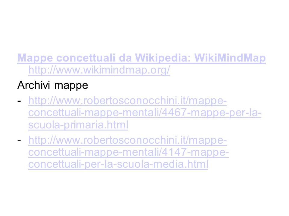Mappe concettuali da Wikipedia: WikiMindMap http://www. wikimindmap