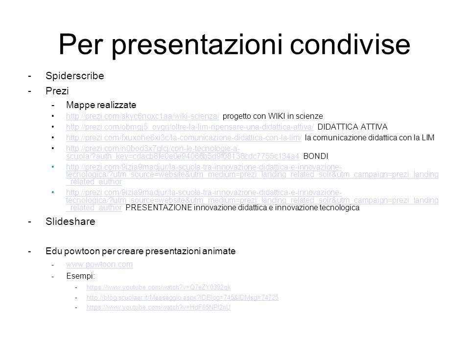 Per presentazioni condivise