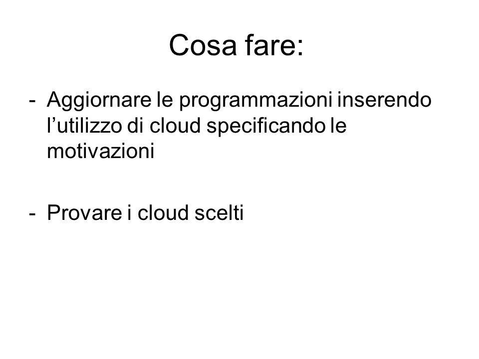 Cosa fare: Aggiornare le programmazioni inserendo l'utilizzo di cloud specificando le motivazioni.