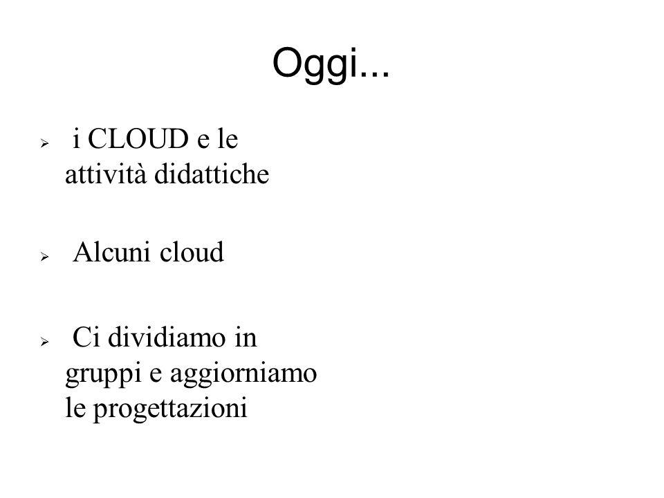 Oggi... i CLOUD e le attività didattiche Alcuni cloud