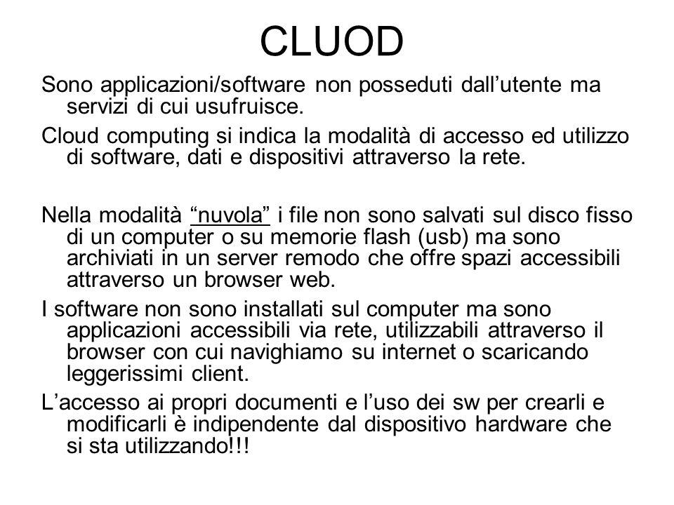 CLUOD Sono applicazioni/software non posseduti dall'utente ma servizi di cui usufruisce.