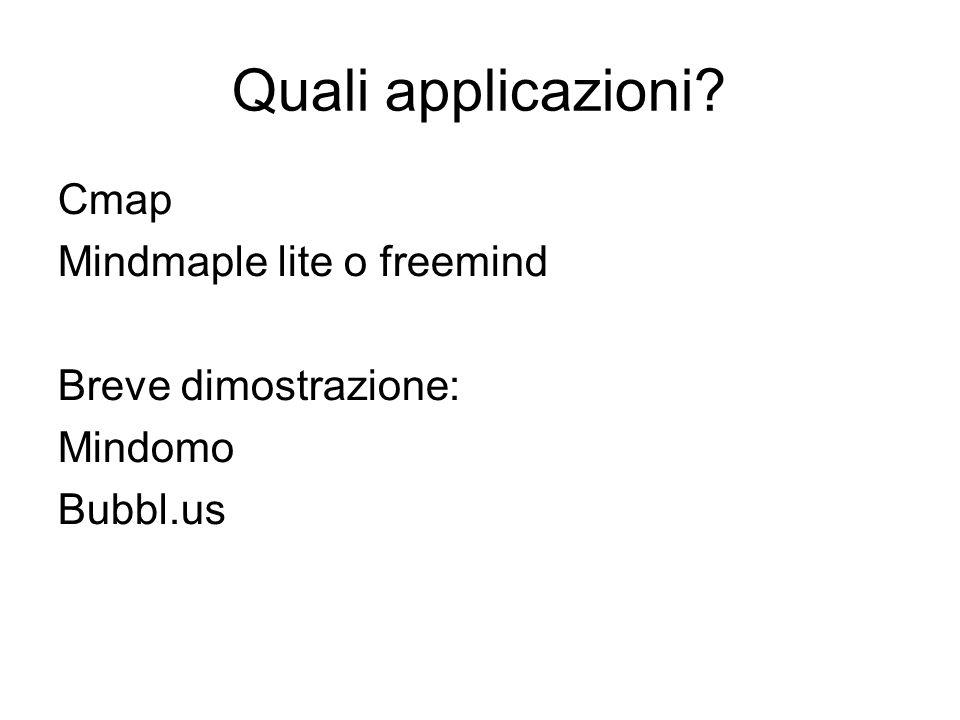 Quali applicazioni Cmap Mindmaple lite o freemind