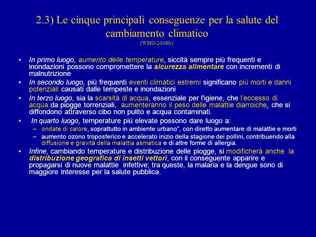 2.3) Le cinque principali conseguenze per la salute del cambiamento climatico (WHO 2008b)