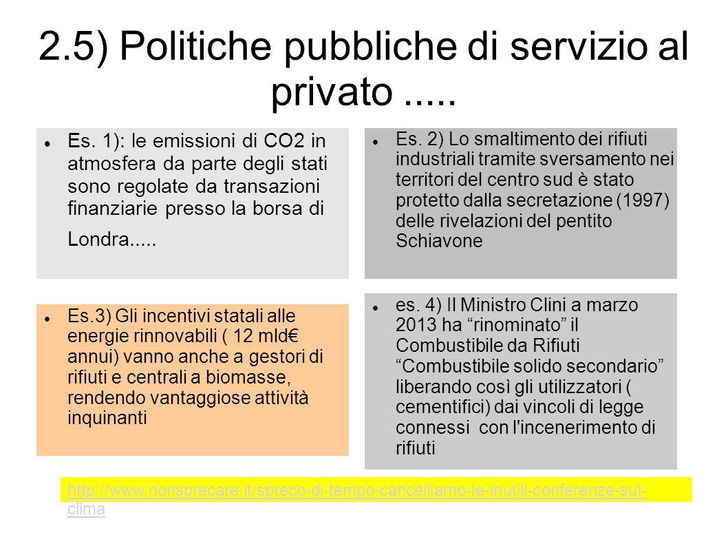 2.5) Politiche pubbliche di servizio al privato .....