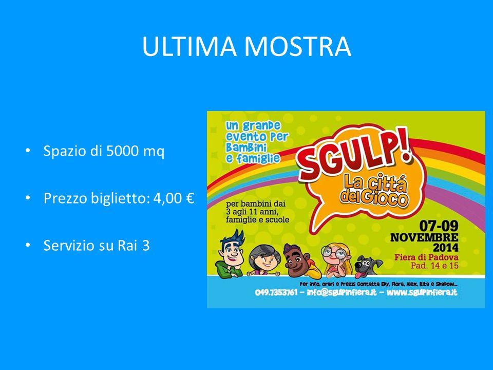 ULTIMA MOSTRA Spazio di 5000 mq Prezzo biglietto: 4,00 €